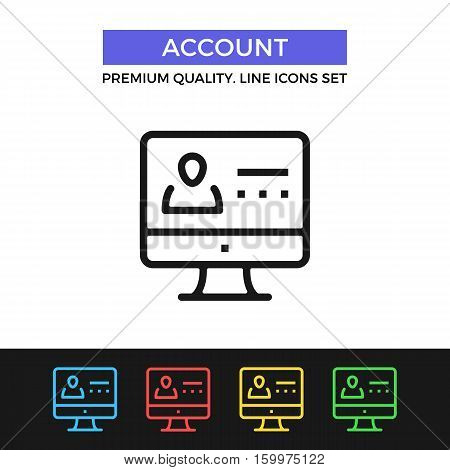 Vector account icon. Sign in, login page concept. Premium quality graphic design. Modern signs, outline symbols collection, simple thin line icons set for website, web design, mobile app, infographics