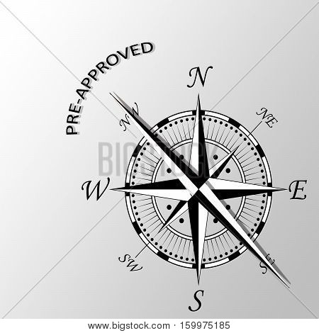 Illustration of pre-approved word written aside compass