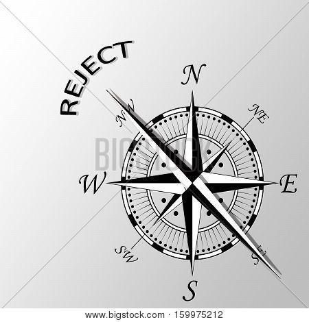 Illustration of word reject written aside compass