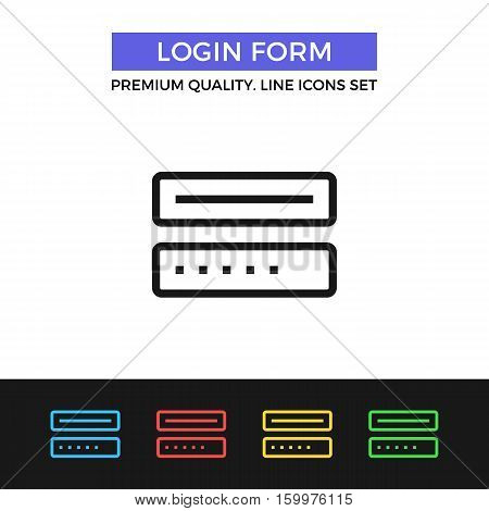 Vector login form icon. Authorization, sign inform. Premium quality graphic design. Modern signs, outline symbol collection, simple thin line icons set for website, web design, mobile app, infographic