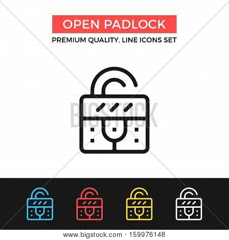 Vector open padlock icon. Metal lock concept. Premium quality graphic design. Modern signs, outline symbols collection, simple thin line icons set for websites, web design, mobile app, infographics