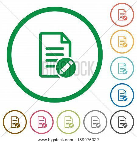 Rename document flat color icons in round outlines