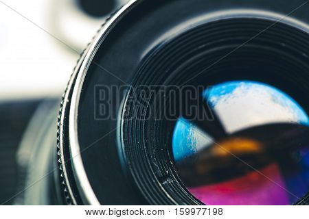 Camera lens. Retro stale. old technology of the last century