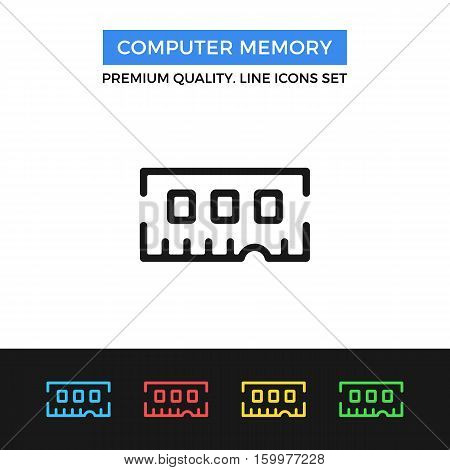 Vector computer memory icon. RAM stick object. simple thin line icons set for websites, web design, mobile app, infographics
