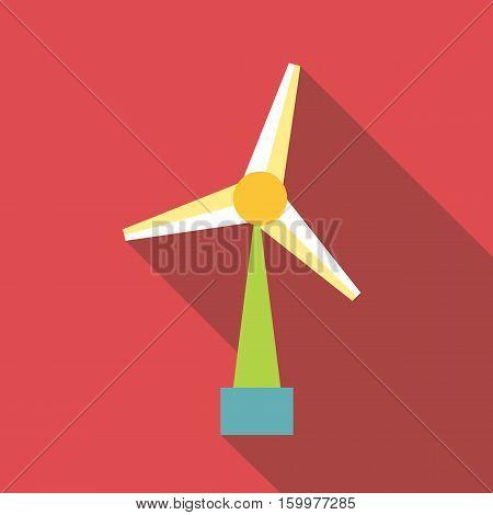 Wind turbine icon. Flat illustration of wind turbine vector icon for web