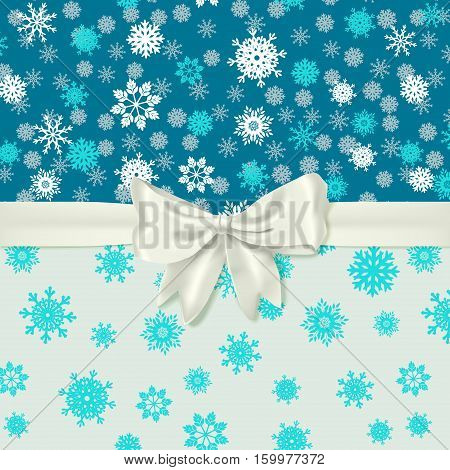 vector winter card template with white realistic bow
