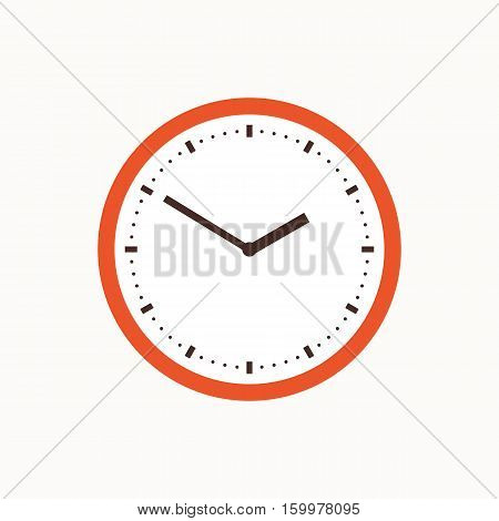Colorful clock isolated illustration. Vector office watch icon made in flat style. School class wall clock icon.