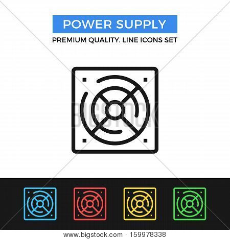 Vector power supply icon. simple thin line icons set for websites, web design, mobile app, infographics
