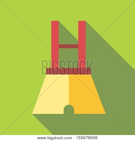 Pants with suspenders icon. Flat illustration of pants with suspenders vector icon for web