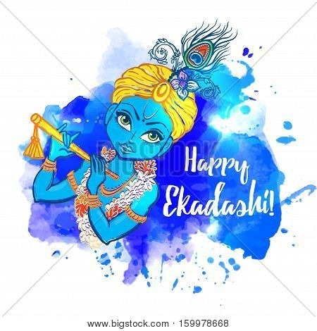 Happy Ekadashi. In Hinduism and Jainism days considered especially auspicious Ekadasi. Hindu festival celebration in India. Vector illustration background