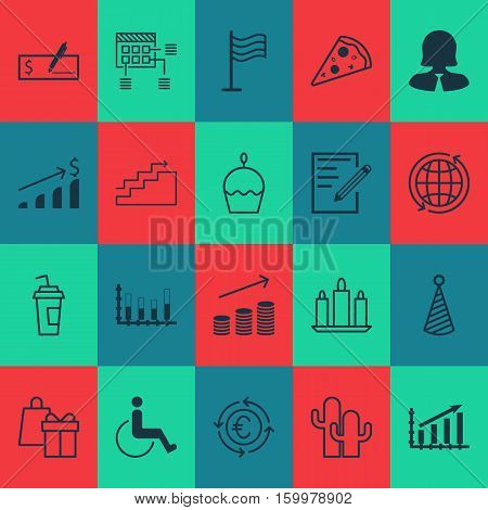 Set Of 20 Universal Editable Icons. Can Be Used For Web, Mobile And App Design. Includes Elements Such As Bank Payment, Successful Investment, Cacti And More.