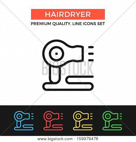 Vector hairdryer icon. Hair dryer concept. Premium quality graphic design. Modern signs, outline symbols collection, simple thin line icons set for websites, web design, mobile app, infographics