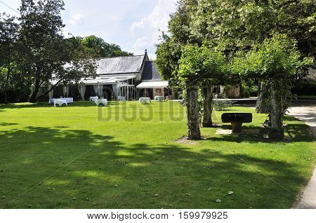 CHENONCEAU FRANCE - JUNE2013 - Garden at the Chateau de Chenonceau Loire Valley castle near the village of Chenonceaux.