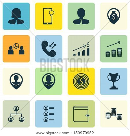 Set Of 16 Hr Icons. Can Be Used For Web, Mobile, UI And Infographic Design. Includes Elements Such As Dollar, Employee, Organisation And More.