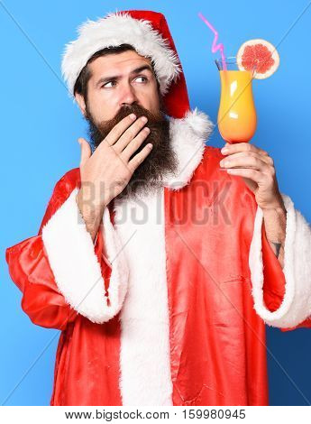 Serious Bearded Santa Claus Man