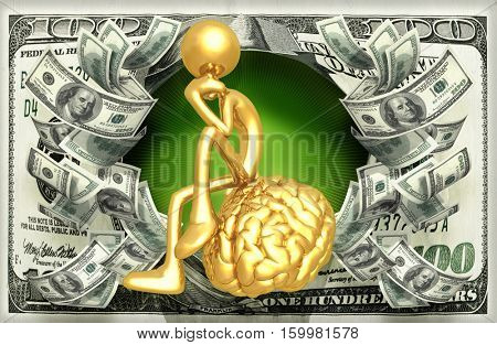 The Original 3D Character Illustration Thinking On A Brain With Money