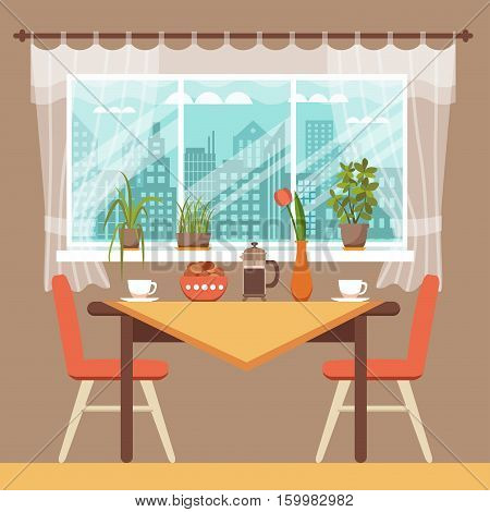 Dining table with chairs and coffee cups near window curtains and house plants colorful vector illustration in cartoon flat style. Window with curtains and city landscape cafe table for romantic date