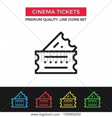 Vector cinema tickets icon. Two vintage raffle tickets. Premium quality graphic design. Signs, outline symbols collection, simple thin line icons set for websites, web design, mobile app, infographics