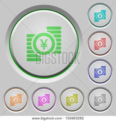 Yen coins color icons on sunk push buttons