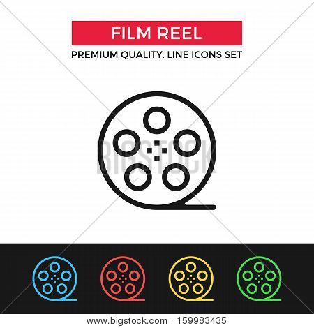 Vector film reel icon. Premium quality graphic design. Modern signs, outline symbols collection, simple thin line icons set for websites, web design, mobile app, infographics
