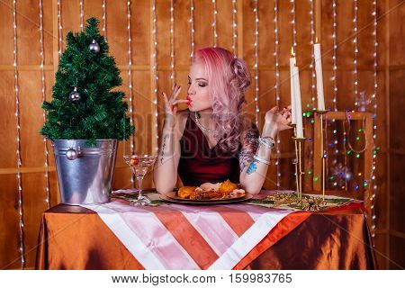 Gorgeous Young Woman Drinks Champagne