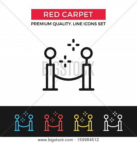 Vector red carpet icon. Glamour event, fashion week, film festival. Premium quality graphic design. Signs, outline symbols, simple thin line icons set for website, web design, mobile app, infographics