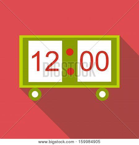 Electronic table clock icon. Flat illustration of electronic table clock vector icon for web