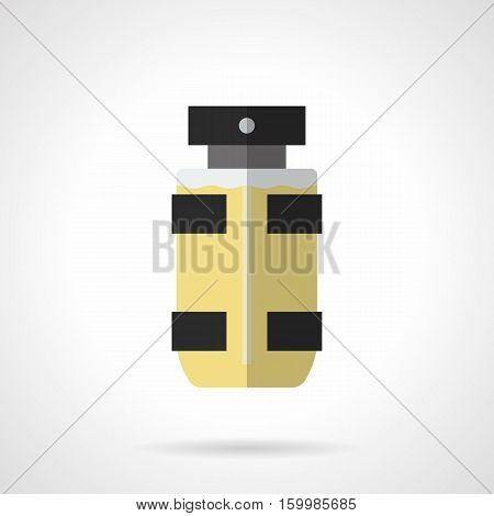 Bottle of male eau de toilette. Spray vial with yellow scented liquid. Mens perfumes and trendy cosmetics. Beauty and hygiene concept. Flat color style vector icon.