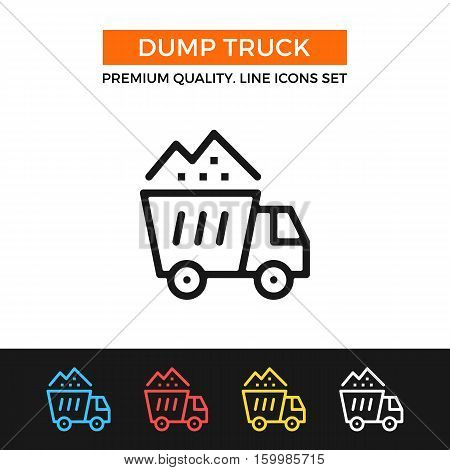 Vector dump truck icon. Construction materials or waste concepts. Premium quality graphic design. Signs, outline symbols, simple thin line icons set for websites, web design, mobile app, infographics