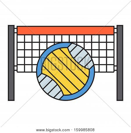 Template logo for volleyball sport team with sport sign and symbols. Tournament competition graphic champion badge icon. Vector club game ball with grid.