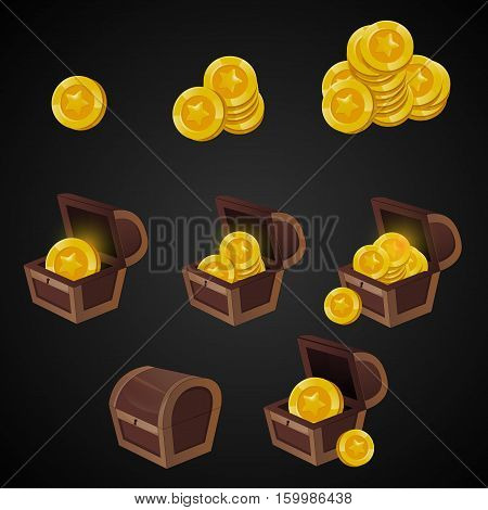 Wooden Chest set for game interface. Vector illustration. treasure of gold coins on dark background: closed, empty, chestes with golden coin.Icons cartoon coins for web.