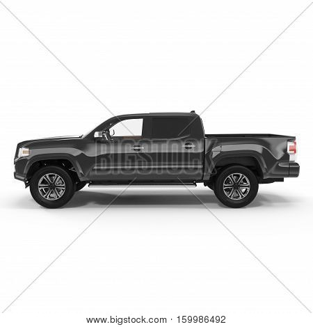 Side view Black Pick up Truck on white background. 3D illustration