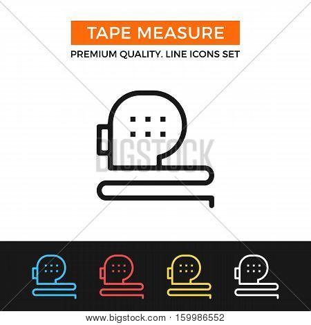Vector tape measure icon. Measurement concept. Premium quality graphic design. Modern signs, outline symbols collection, simple thin line icons set for websites, web design, mobile app, infographics