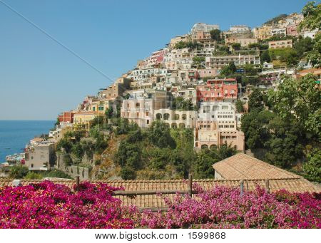 Positano  Landscape With Bouganvillea Flowers