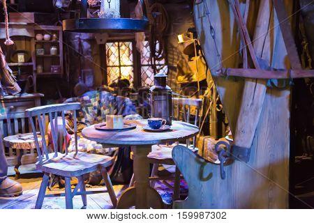 Leavesden, London, UK - 1 March 2016: Interior of Hut, house of Hagrid. Decoration of Warner Brothers Studio