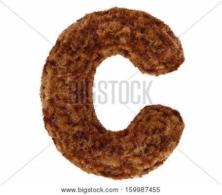 3D Bushy Bear Fur Alphabet Capital Letter C