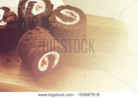 abstract black forest cake roll on sweet filter - can use to display or montage on product or make a menu