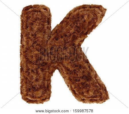 3D Bushy Bear Fur Alphabet Capital Letter K