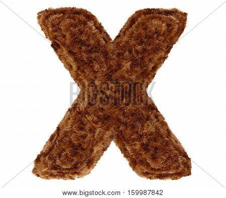 3D Bushy Bear Fur Alphabet Capital Letter X