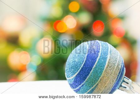 Christmas ball and christmas tree lighting background (footage)