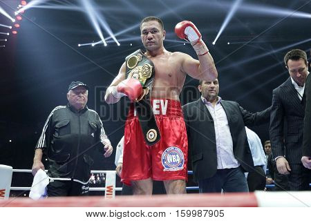 Sofia Bulgaria - December 3 2016: Boxer Kubrat Pulev reacts after winning against Samuel Peter at WBA International Heavyweigh Championship in Arena Armeec.