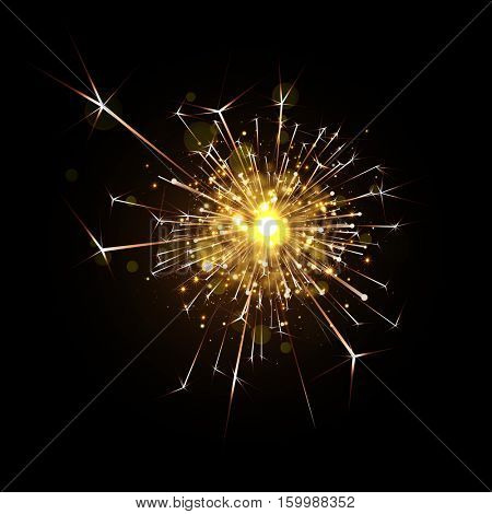 Vector magic firework explosion of sparkler. Bright shining decoration. Christmas light effect