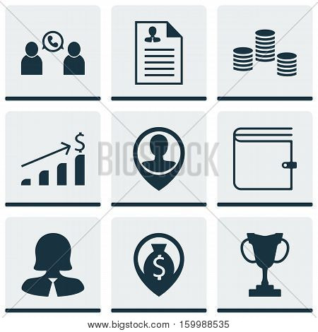 Set Of 9 Human Resources Icons. Can Be Used For Web, Mobile, UI And Infographic Design. Includes Elements Such As Prize, User, Cup And More.