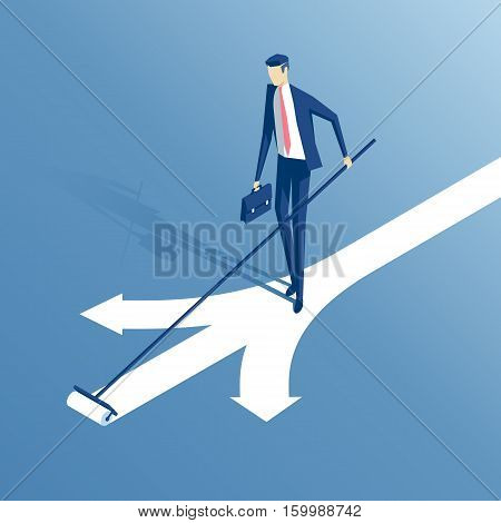 an employee stands at a crossroads and draws a new arrow is offered a businessman chooses is own an option or a path isometric illustration business concept choice and creativity