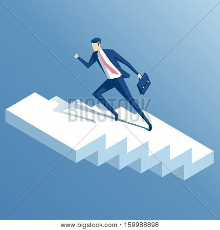 businessman run up the stairs isometric vector illustration an employee climbs up the stairs business concept growth and the path to success
