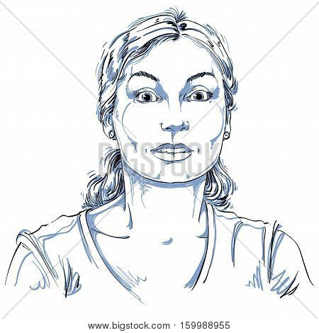 Vector Portrait Of Scared Woman, Illustration Of Amazed Or Frightened Female. Person Emotional Face