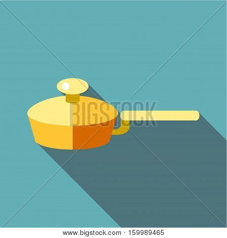 Kitchen frying pan icon. Flat illustration of kitchen frying pan vector icon for web