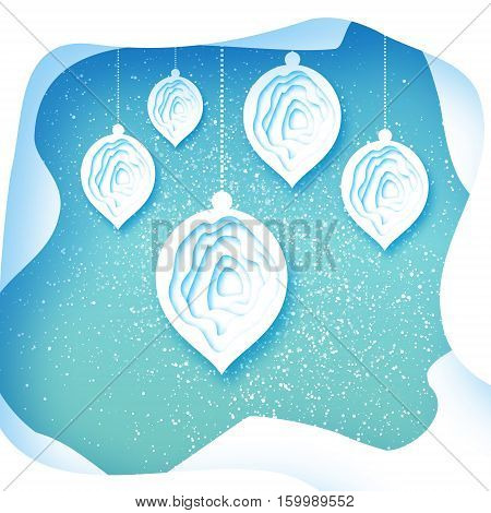 Merry Christmas Greeting card with bauble ball toy on blue background with layered cave frame. Happy New Year holiday. Seasonal winter Vector paper art illustration