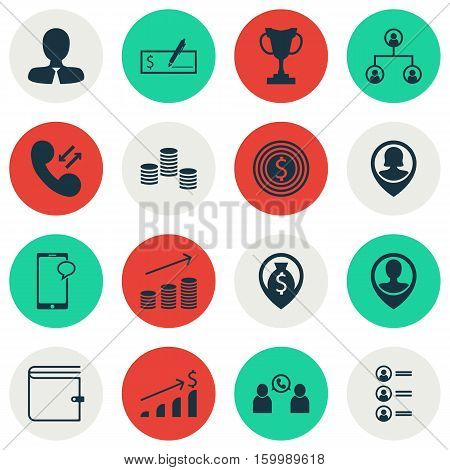 Set Of 16 Human Resources Icons. Can Be Used For Web, Mobile, UI And Infographic Design. Includes Elements Such As Phone, User, Applicants And More.