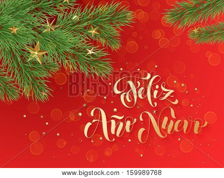Feliz Ano Nuovo Spanish Merry Christmas text greeting calligraphy lettering. Decorative red background with golden Christmas ornament decorations of gold stars balls and Christmas tree branches